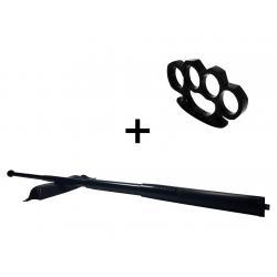 Set baston telescopic din otel, negru, 64 cm + box negru 1 cm grosime0