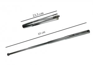 Set baston telescopic din otel, argintiu, 64 cm + box negru model 20173