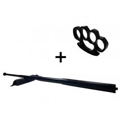 Set baston telescopic din otel, negru, 64 cm + box negru 0.5 cm grosime0