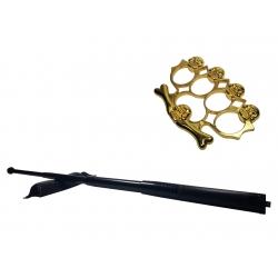 Set baston telescopic din otel, negru, 64 cm + box-rozeta craniu auriu0
