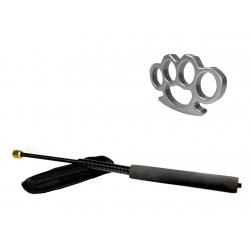 Set baston telescopic flexibil negru 47 cm + box argintiu 0.5 cm grosime0