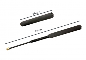 Set baston telescopic flexibil negru 47 cm + box argintiu 0.5 cm grosime3