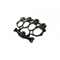 Set baston telescopic flexibil argintiu, maner cauciuc, 47 cm  + box,rozeta craniu negru [3]