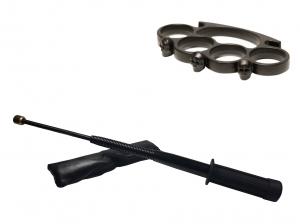 Set baston telescopic flexibil negru maner tip tonfa 47 cm + box craniu negru0