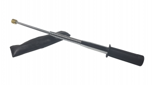 Set baston telescopic flexibil argintiu, maner cauciuc, 47 cm  + box craniu negru1