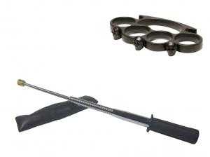 Set baston telescopic flexibil argintiu, maner cauciuc, 47 cm  + box craniu negru0