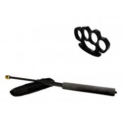 Set baston telescopic flexibil negru 47 cm +  box negru 0.5 cm grosime0