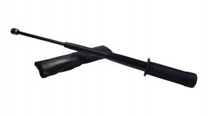 Set baston telescopic flexibil negru maner tip tonfa 47 cm +  box negru 1 cm grosime1