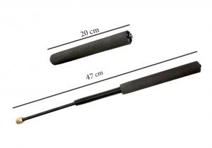 Set baston telescopic flexibil negru 47 cm +  pumnal/box craniu argintiu3