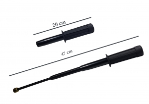 Set baston telescopic flexibil negru maner tip tonfa 47 cm + box argintiu 1 cm grosime2