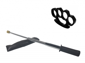 Set baston telescopic flexibil argintiu, maner cauciuc, 47 cm  +  box negru 0.5 cm grosime0