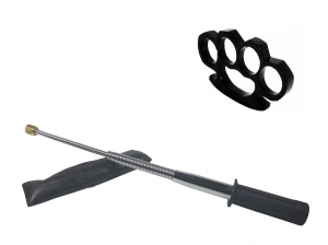 Set baston telescopic flexibil argintiu, maner cauciuc, 47 cm  +  box negru 1 cm grosime0