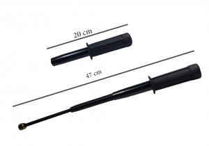 Set baston telescopic flexibil negru maner tip tonfa 47 cm + box,rozeta craniu negru2