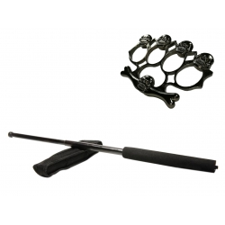 Set baston telescopic negru 50 cm + box,rozeta craniu negru0