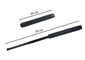 Set baston telescopic Police, 49 cm + box craniu negru4
