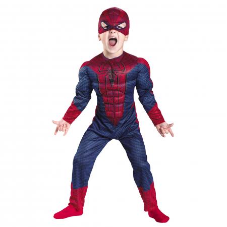 Set costum cu muschi Spiderman, 3-5 ani, manusa cu lansator si masca plastic LED, rosu [1]