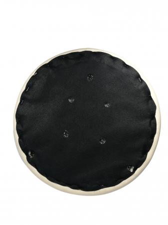 Taburet pentru scaun rotund, piele ecologica, 34 cm, bej1