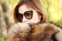 Vesta din blana naturala de vulpe, cafenie, marimea M4