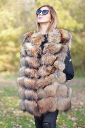 Vesta din blana naturala de vulpe, cafenie, marimea M1