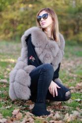 Vesta din blana naturala de vulpe, culoare gri, marime L2