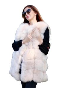 Vesta din blana naturala de vulpe, culoare Bej, marime XL [0]