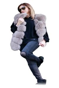 Vesta din blana naturala de vulpe, culoare gri, marime L0