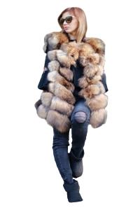 Vesta din blana naturala de vulpe, marimea XL0