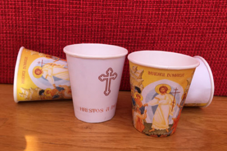 Holly Easter paper cups - 250 ml (270 ml up to the lid), 50 pcs / set, 20 sets / box, 1000 pcs / box, separate caps without holes1