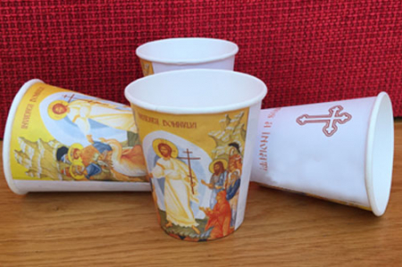 Holly Easter paper cups - 250 ml (270 ml up to the lid), 50 pcs / set, 20 sets / box, 1000 pcs / box, separate caps without holes2
