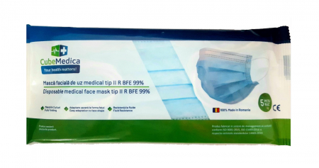 Masca medicala tip IIR, 3 straturi, 5 buc/set, 50 buc/cutie, 2000 buc/bax, grad filtrare >99%, de unica folosinta0