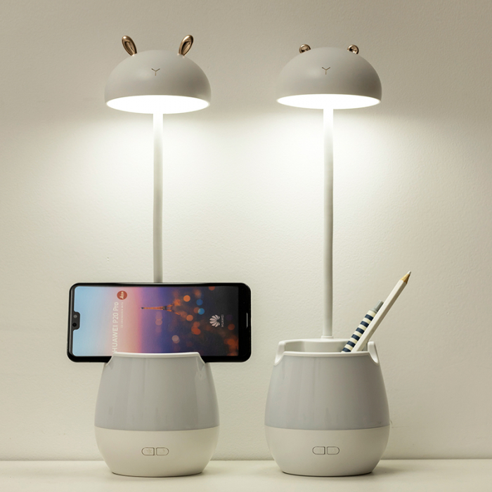 Lampa de birou cu suport pixuri reglabila Ideas4Comfort, lampa de veghe portabila, USB reincarcabila, BPA-free, Iepuras, alb [4]