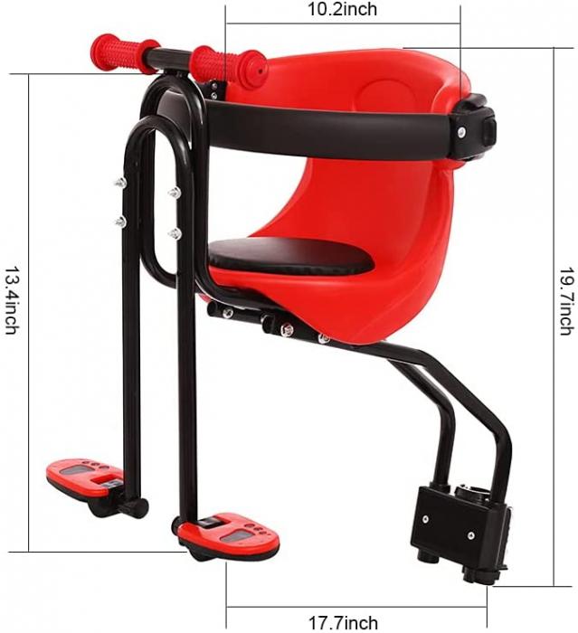 Scaun de copil pentru bicicleta cu prindere pe bara orizontala din fata, centuri de siguranta, sarcina maxima 20 kg, suport picioare, rosu [1]