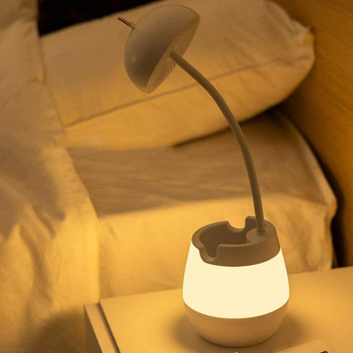 Lampa de birou cu suport pixuri reglabila Ideas4Comfort, lampa de veghe portabila, USB reincarcabila, BPA-free, Iepuras, alb [5]