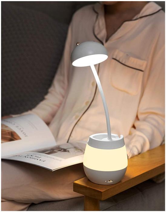 Lampa de birou cu suport pixuri reglabila Ideas4Comfort, lampa de veghe portabila, USB reincarcabila, BPA-free, Iepuras, alb [6]