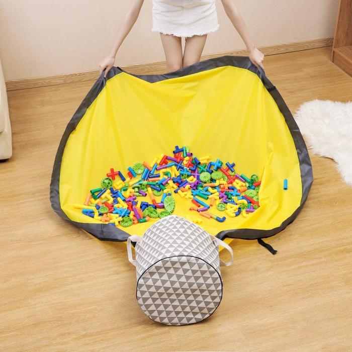 Covor de joaca LEGO si cos organizator jucarii transportabil, diametru 150 cm, triunghiuri, alb/gri [5]