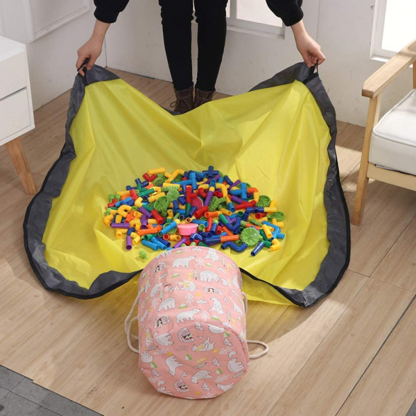 Covor de joaca LEGO si cos organizator jucarii - ROZ [4]