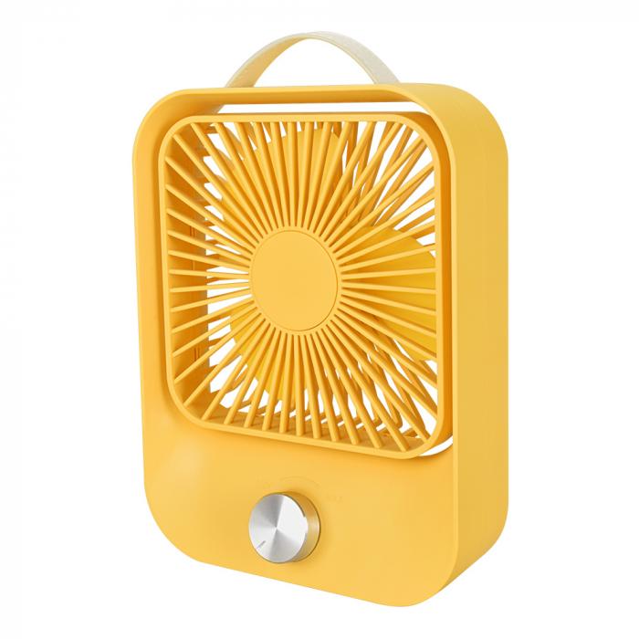 Ventilator portabil pentru birou, 2.6 W, acumulator 2400 mAh, incarcare 3 ore, autonomie pana la 7 ore, reincarcabil USB, galben [0]