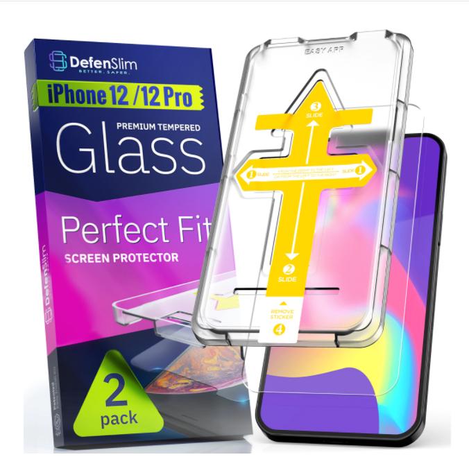 Folie sticla iPhone 12 / 12 Pro, set 2 buc, instalare rapida cu dispozitiv de potrivire automata in 30 sec, DefenSlim [5]