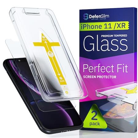 Folie sticla iPhone 11 / iPhone XR, set 2 buc, DefenSlim, instalare rapida cu dispozitiv de potrivire automata in 30 sec [0]