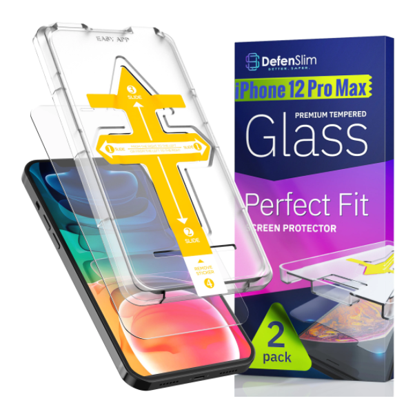 Folie sticla iPhone 12 Pro Max, set 2 buc, DefenSlim, instalare usoara cu dispozitiv de potrivire automata, Easy Install Kit patentat [0]