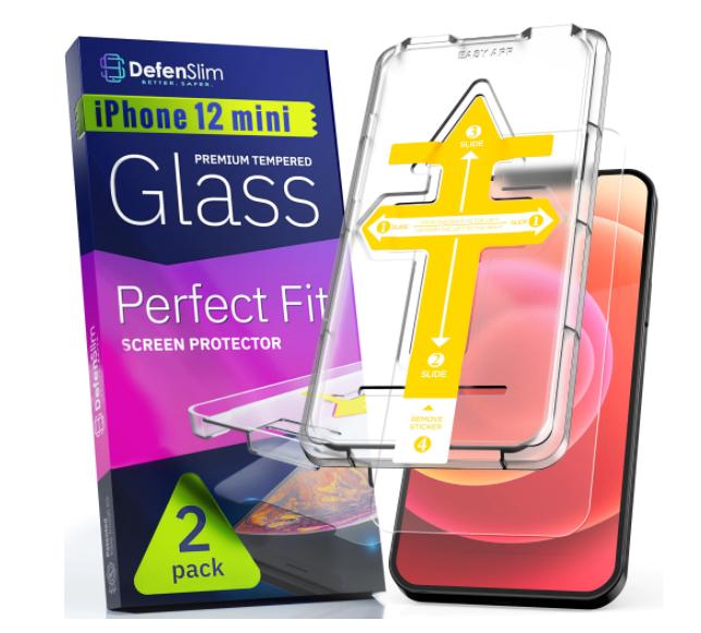 Folie sticla iPhone 12 mini, set 2 buc, DefenSlim, instalare usoara cu dispozitiv de potrivire automata, Easy Install Kit patentat [0]
