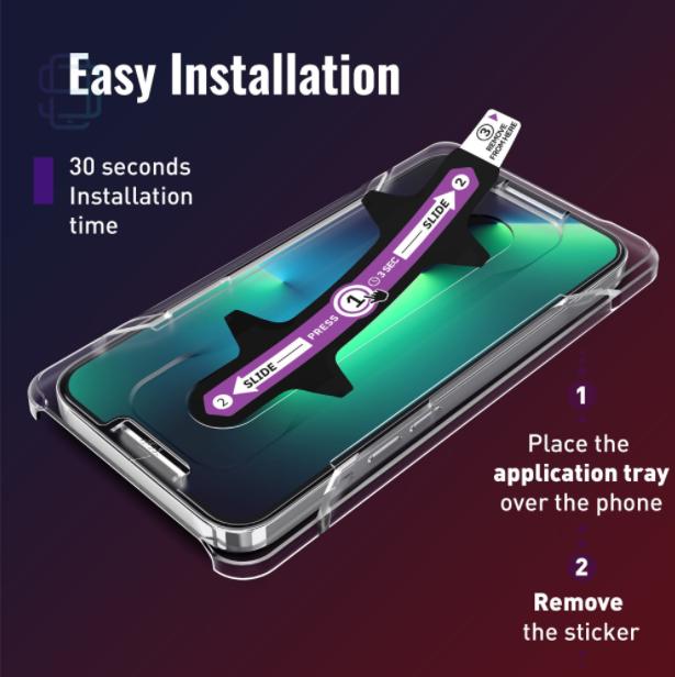 Folie sticla iPhone 13 Pro, set 2 buc, DefenSlim, instalare usoara cu dispozitiv de potrivire automata, Easy Install Kit patentat [1]