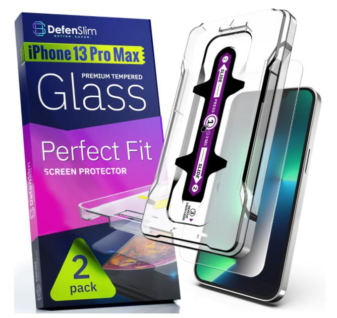 Folie sticla iPhone 13 Pro Max, set 2 buc, DefenSlim, instalare usoara cu dispozitiv de potrivire automata, Easy Install Kit patentat [0]