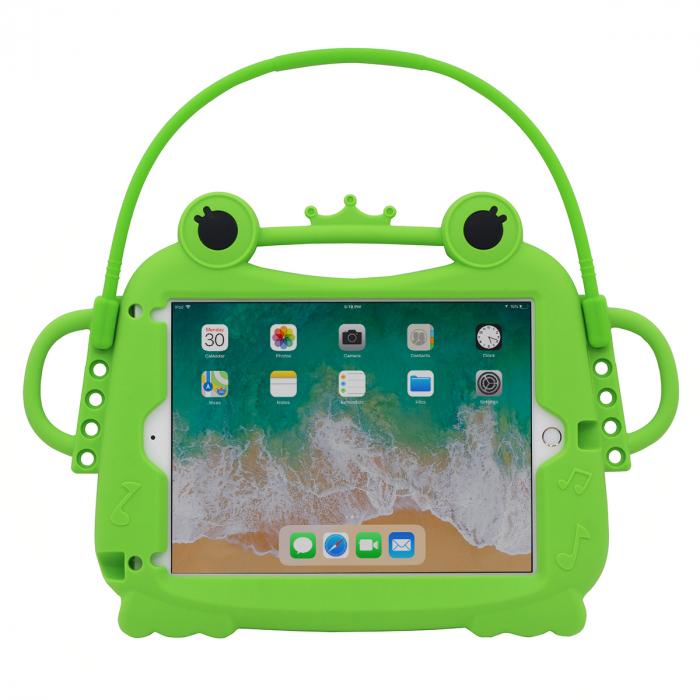Husa protectie tableta, pentru copii, silicon, iPad Air, iPad Air 2, iPad Pro 9.7, iPad New 9.7, protectie silicon antisoc rezistenta la lovituri, acces la toate porturile, Broasca, verde [0]