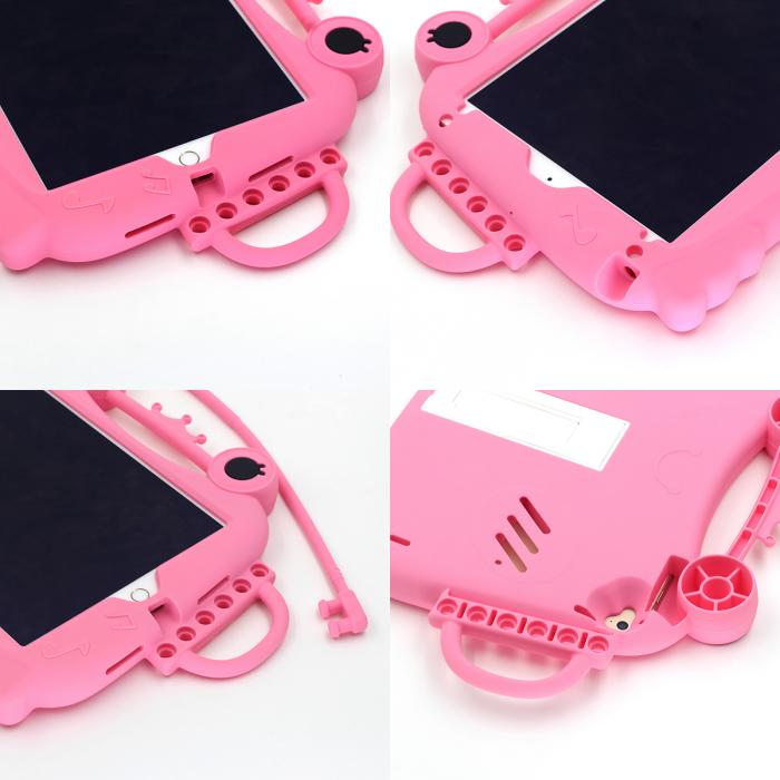 Husa protectie tableta, pentru copii, silicon, iPad Air, iPad Air 2, iPad Pro 9.7, iPad New 9.7, protectie silicon antisoc rezistenta la lovituri, acces la toate porturile, Broasca, roz [6]