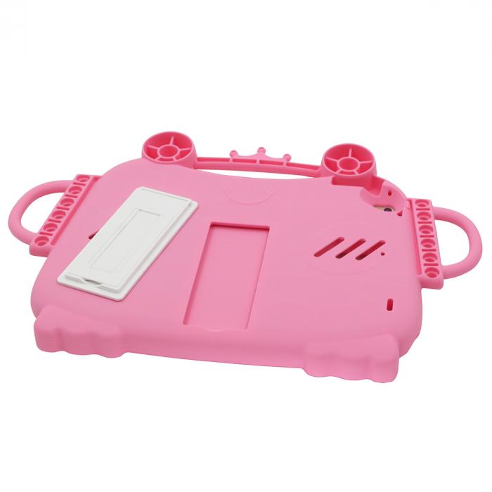 Husa protectie tableta, pentru copii, silicon, iPad Air, iPad Air 2, iPad Pro 9.7, iPad New 9.7, protectie silicon antisoc rezistenta la lovituri, acces la toate porturile, Broasca, roz [4]