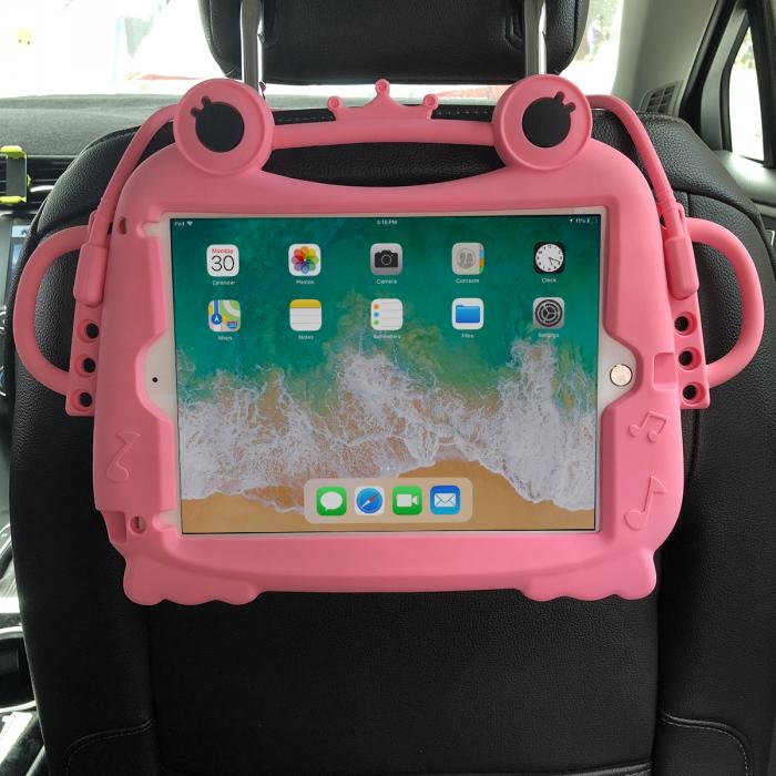Husa protectie tableta, pentru copii, silicon, iPad Air, iPad Air 2, iPad Pro 9.7, iPad New 9.7, protectie silicon antisoc rezistenta la lovituri, acces la toate porturile, Broasca, roz [1]