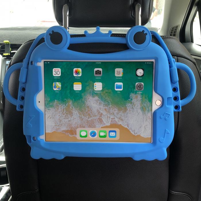 Husa protectie tableta, pentru copii, silicon, iPad Air, iPad Air 2, iPad Pro 9.7, iPad New 9.7, protectie silicon antisoc rezistenta la lovituri, acces la toate porturile, Broasca, albastru [2]