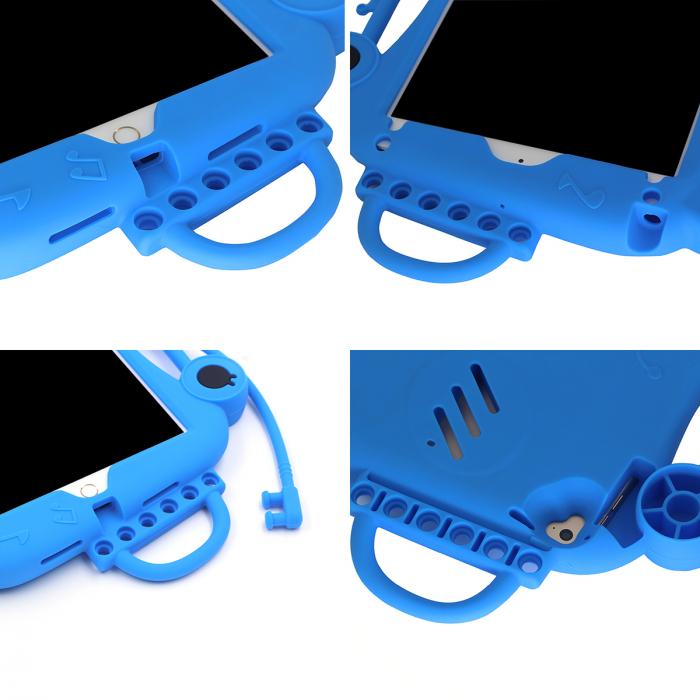 Husa protectie tableta, pentru copii, silicon, iPad Air, iPad Air 2, iPad Pro 9.7, iPad New 9.7, protectie silicon antisoc rezistenta la lovituri, acces la toate porturile, Broasca, albastru [1]