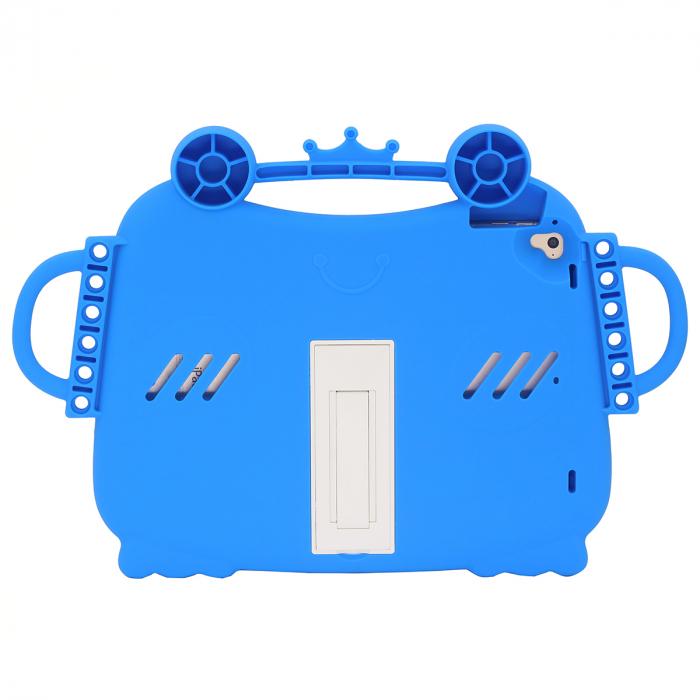 Husa protectie tableta, pentru copii, silicon, iPad Air, iPad Air 2, iPad Pro 9.7, iPad New 9.7, protectie silicon antisoc rezistenta la lovituri, acces la toate porturile, Broasca, albastru [5]